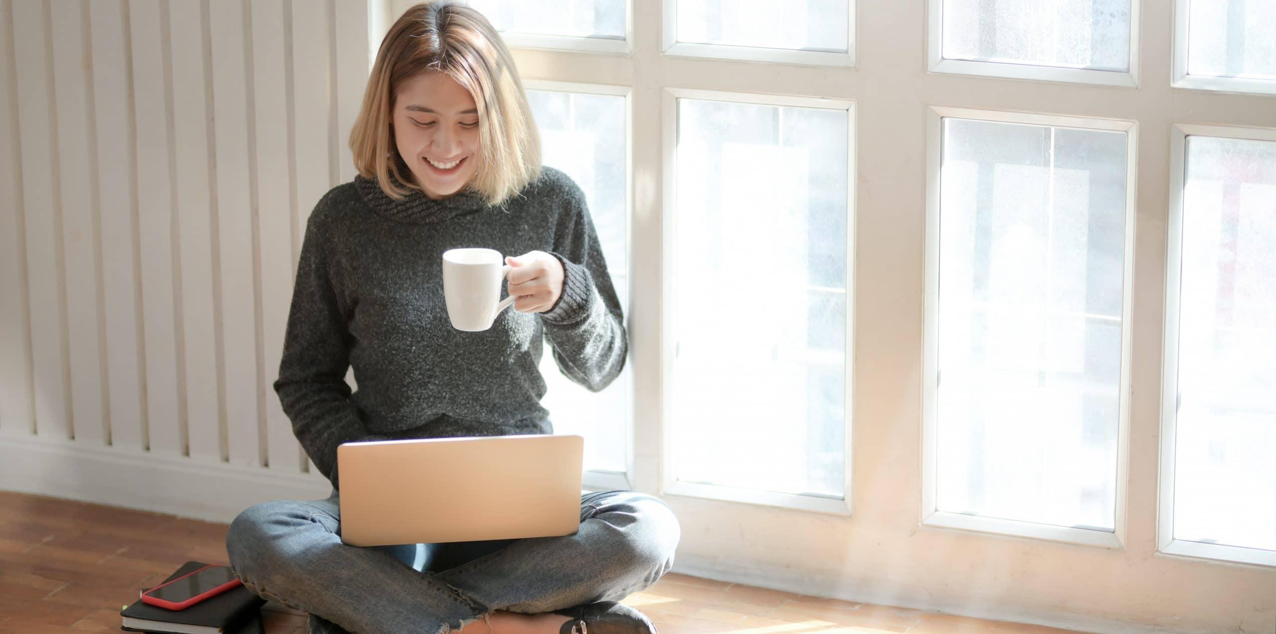 Woman utilizing Turnitin for content plagiarism detection